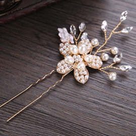 Sweet Floral Shape with Pearl Wedding Hair Stick