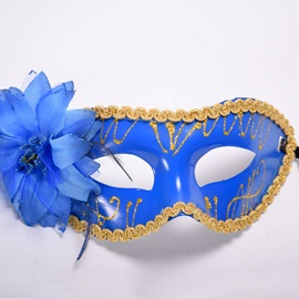Shiny Feathers Flower Design Color Drawing Gothic Halloween Mask