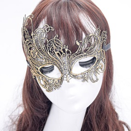 Hollow Out Lace-Up Iron Costume Halloween Eyepatch Masks