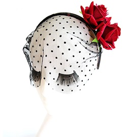 Velvet Rose Polka Dots Lace Sexy Halloween Hair Accessories