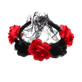 Assorted Colors Velvet Flower Halloween Hair Accessories with Veil