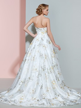 Sweetheart Sleeveless Print Floor Length Ball Gown Wedding Dress