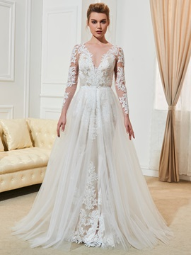 Fancy A-Line Appliques Long Sleeves Wedding Dress