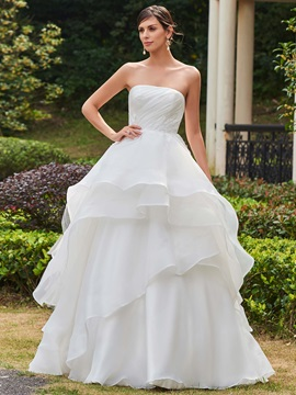 Appliques Strapless Pleats Tiered Ball Gown Wedding Dress