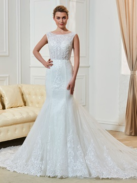 Luxurious Straps Appliques Beading Mermaid Wedding Dress