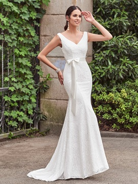 Elegant V Neck Sashes Mermaid Lace Wedding Dress