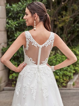 Beaded V Neck Appliques A Line Sash Wedding Dress