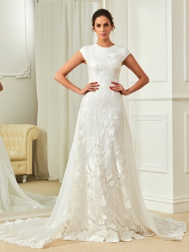 Fancy Jewel Sheath Lace Wedding Dress