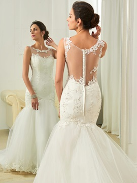 Scoop Appliques Court Train Mermaid Wedding Dres