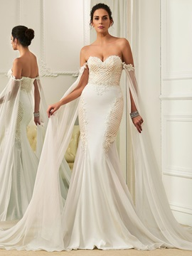 Fancy Sweetheart Beaded Lace Mermaid Wedding Dress