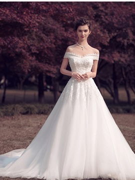 Off the Shoulder Appliques A Line Court Train Wedding Dress