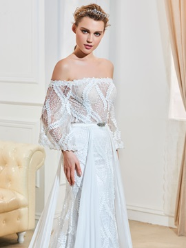 Pure Off The Shoulder A Line Lace Wedding Dress with Sleeves