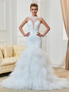 Amazing Straps Beading Mermaid Lace Wedding Dress