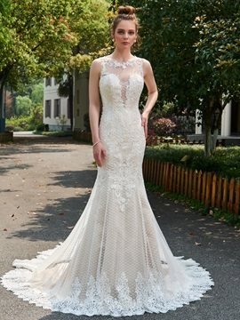 Exqusite Straps Appliques Backless Trumpet Wedding Dress