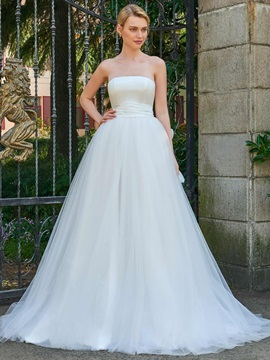 Pure Strapless A-Line Bowknot Wedding Dress