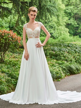 Cap Sleeves A-Line Appliques Backless Wedding Dress