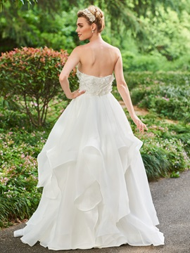 Parent-Child Strapless Flowers Ruffles Wedding Dress