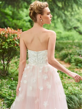 Parent-Child Strapless Flowers Ankle-Length Wedding Dress