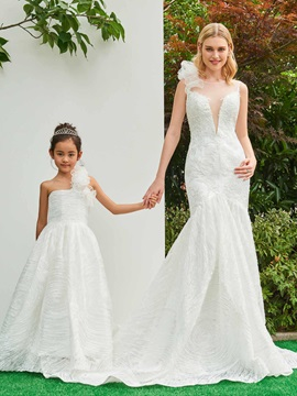 Parent-Child Appliques Lace Wedding Dress