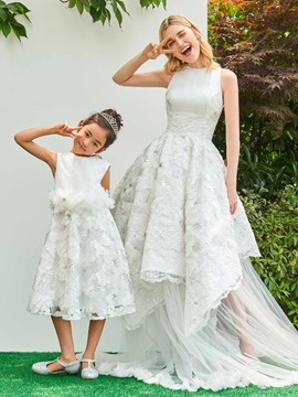 Parent-Child Jewel Neck Sequined Appliques Asymmetrical Wedding Dress