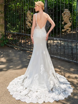 Delicate Bateau Neck Appliques V-Back Wedding Dress