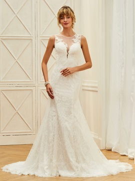 Charming Straps Appliques Lace Mermaid Wedding Dress