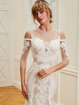 Illusion Neck Pearls Lace Backless Wedding Dress