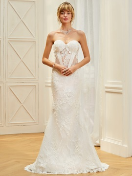 Strapless Mermaid Appliques Lace Wedding Dress