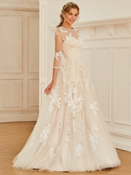 Sheer Back 3/4 Length Sleeves Appliques Wedding Dress