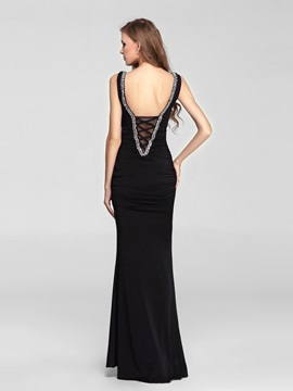 Sensual Sheath V-Neck Beading Floor-Length Lace-up Evening Dress