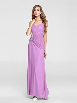 A-Line V-Neck Straps Beading Floor Length Enchanting Evening/Party Dress