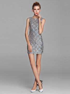Dazzling Sheath Sequins Bateau Short Cocktail Dress