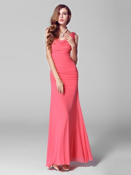 Modern Cowl Neck Draped Sheath Pearls Long Evening Dress