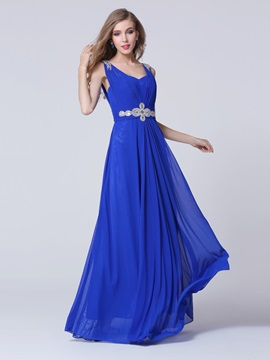 Modern Straps A-Line Crystal Ruffles Long Prom Dress