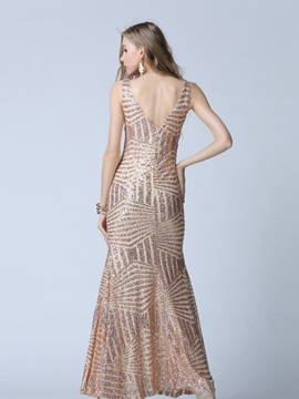 Formal V-Neck A-Line Sequins Evening Dress