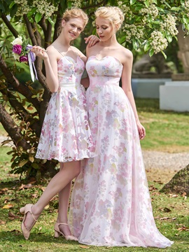 Ideal Sweetheart Long Printing Bridesmaid Dress