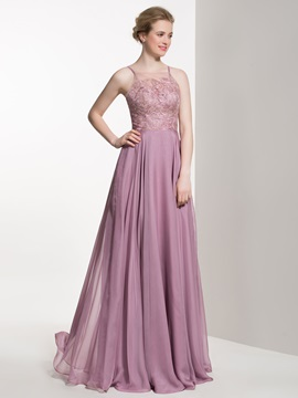 Elegant Spaghetti Straps Lace Top A Line Bridesmaid Dress