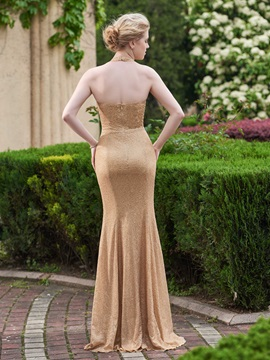 Shiny Halter Sheath Sequins Bridesmaid Dress