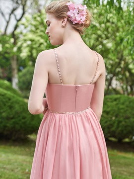 Wonderful Beaded Spaghetti Straps Long Bridesmaid Dress
