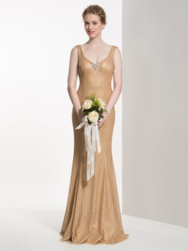 Attractive V Neck Beading Sheath Sequined Bridesmaid Dress
