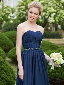 High Quality Strapless Beaed A Line Long Bridesmaid Dress