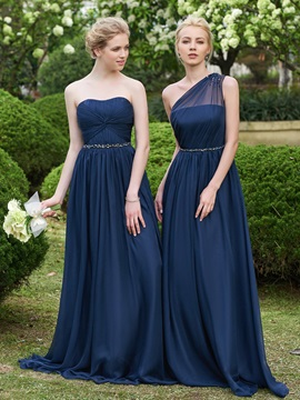 Beaded One Shoulder A Line Long Bridesmaid Dress