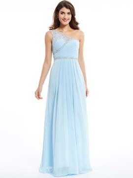 One Shoulder Zipper-Up Beaded A Line Long Evening Dress