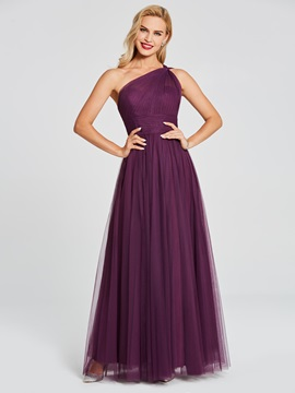 Plain One Shoulder Pleats Long Bridesmaid Dress