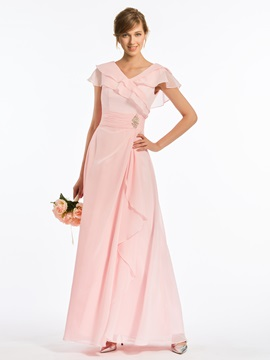 Crystal V-Neck Tiered Long Bridesmaid Dress