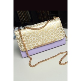 Two-tone Color Lace Flowers Flap One-shoulder Women's Bag