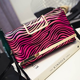 Contrast Color Stripe Style Women's Handy Bag