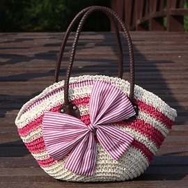 Pastoral Style Bowtie Stripe Knitted Shoulder Bag