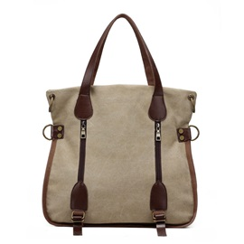 Multimodal Belt-Decorated Canvas Tote Bag
