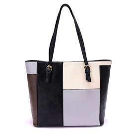 Huge Space Patchwork Zipper Women Satchel